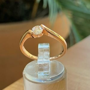 18K Cubic Zirconia Ring Rose Gold Color